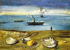 Filippo De Pisis - Marina con Conchiglie